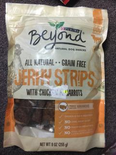 9 ounce bag of Purina beyond grain free jerky strips