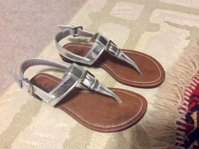 Sandals with Silver-tone Buckle