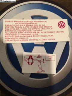 1974 Type 1 fan shroud stickers
