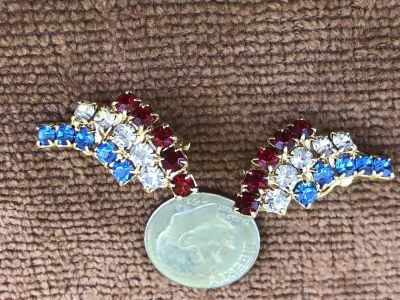 1950s Vintage Red White And Blue Clip On Earrings Jewelry Gold Tone