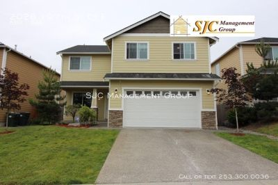 Five bedroom house for rent in Spanaway, close to Puyallup, JBLM, and schools.