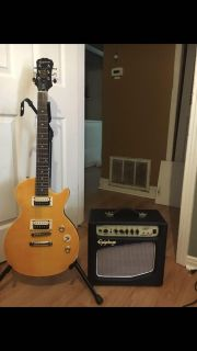 Epiphone brand guitar and amp