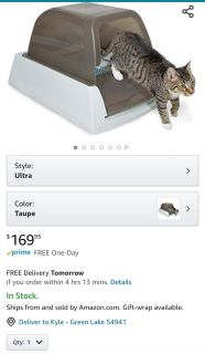 Petsafe hooded litter box with reusable pan and 2 bags of crystal