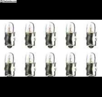(10) Volkswagen Gauge, Dash Bulbs 12V 2W (New)