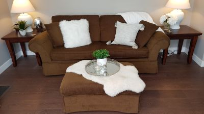 Couch, chair and 1/2 and ottoman
