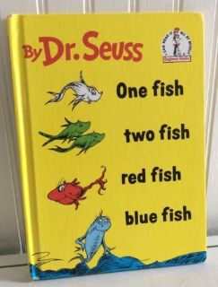 Dr Seuss Vintage 1960 One Fish Two Fish Red Fish Blue Fish Hard Cover Book