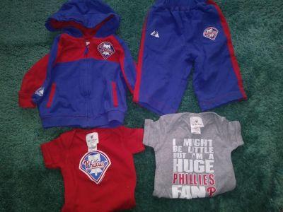 4 Piece Phillies Baby Clothes Lot Size 6 - 9 Months