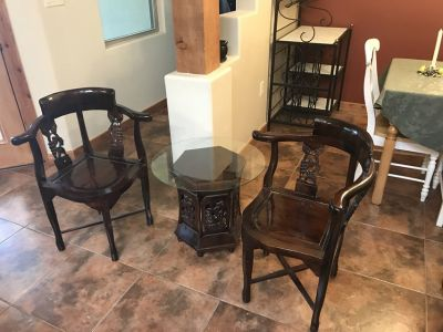Beautiful Asian Leaf & Grape Design Set With 2 Chair and 1 Table