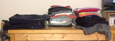 Traveling Bag , 28 Men s shirts, 3 gym like pants.