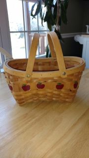 """Apple basket with handles measures 9"""" by 12"""" and is 6"""" deep"""