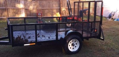Black 6x10 trailer with gate and removable sides