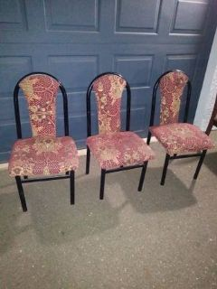 3 padded Dining chairs with floral pattern and black iron frame