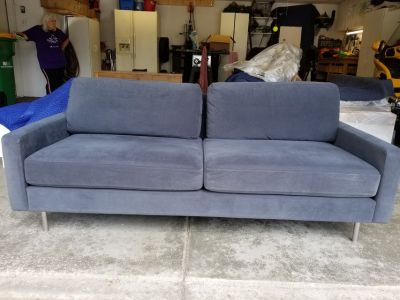 "CB2 microfiber couch, 79"" long"