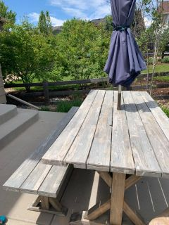 Table, bench and umbrella