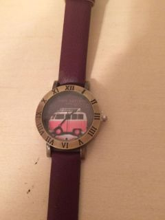 Purple leather watch with the VW bus design