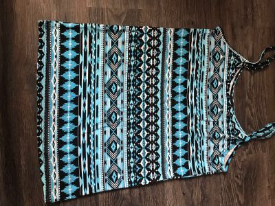 Soft, turquoise and black tank top