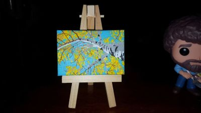 Miniature painting and easel- Aspen tree