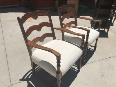 Set of THREE Matching Vintage Antique Chairs Including Footstool Ottoman