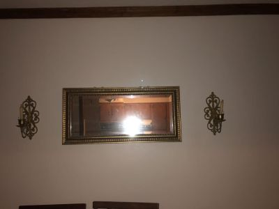 Mirrors and wall candles gold trim
