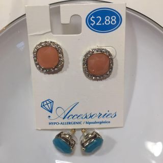 CORAL PAIR AND TURQUOISE PAIR OF EARRINGS