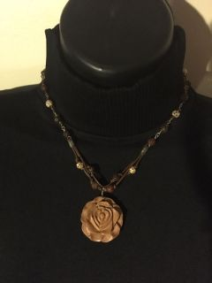 Wood carved rose pendant necklace