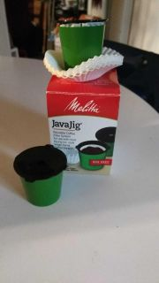 Melitta JavaJig K-Cups for Keurig K-Cup Brewers Reusable Coffee Filter System, Uses Melitta Paper Coffee Filters. Five filters were used