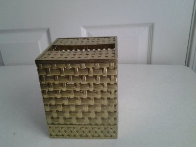 Gold Metal Basket Weave Square Tissue Box Cover