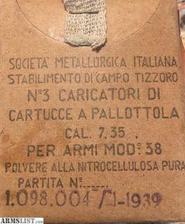For Sale: 7.35 Carcano Ammo Original WWII Italian Military on Steel Carcano Clips