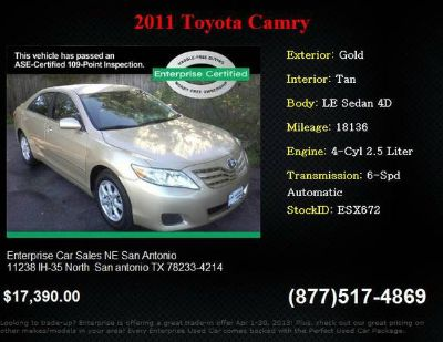 2011 Toyota Stock ESX672 Camry LE Sedan 4D  18,136 miles low mileage (San antonio)