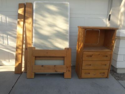 Twin bed with no matress only box spring and dresser only 45 bucks solid wood