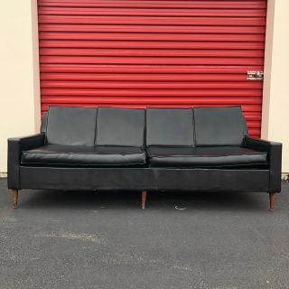 Mid Century Modern Black Vinyl Sofa