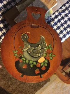 1988 decorative hand painted wood cutting board