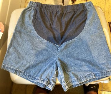 In Due Time Blue Jean Maternity Shorts