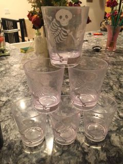 Halloween skeleton drink shaker and 6 cups