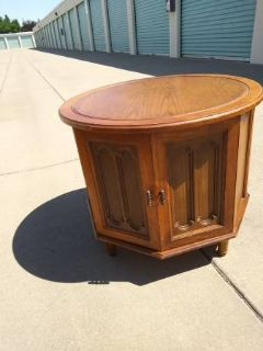 round coffee end table cabinet solid wood