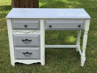 Desk painted in antique white and grey sealed with poly.