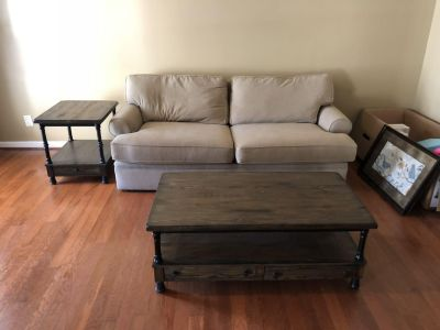 Rustic coffee and side table set