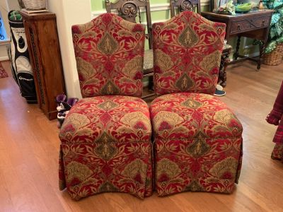 $50 each custom covered dining chairs(6 available)