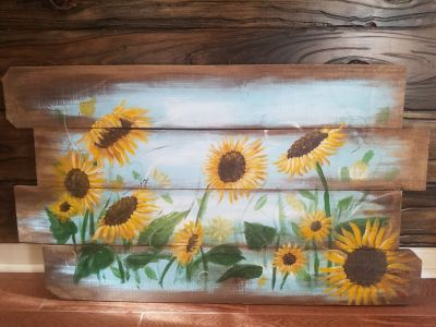 Hand painted reclaimed wood painting