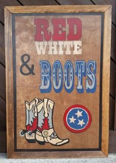 Red, White and Boots Painting