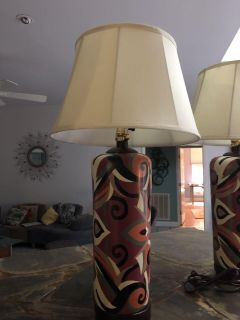 Pair of Hand Painted Table Lamps