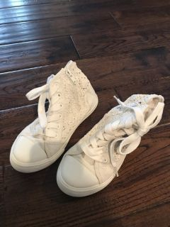 Cream lace high tops size 13