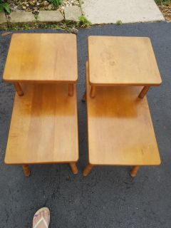 Pair of solid maple end tables