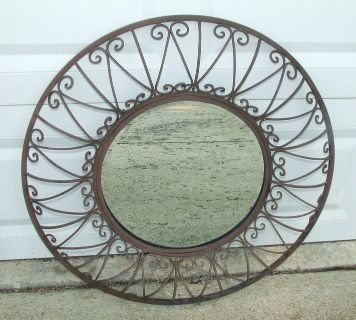 "Decorative Wrought Iron 3D Wall Hanger / Mirror 32"" Diameter"