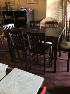 Pub Table W/ Built In Leaf and 6 Chairs