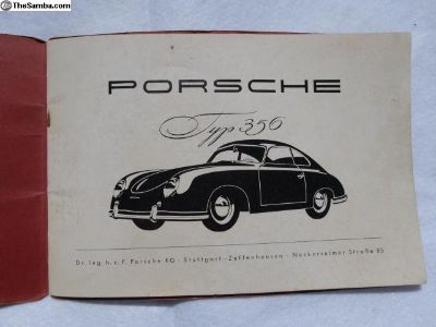 Vintage 1953 Porsche 356 French Owners Manual