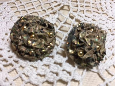 Vintage Earrings Hand Made Paper with a Touch of Glitter Neutral Gold Colors Posts