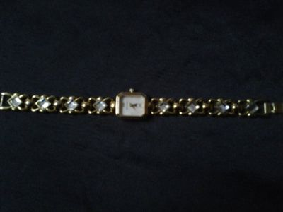 Gloria Vanderbilt Gold/Crystal Quartz Watch