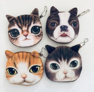 Cat & Dog Coin Purse Pouch Key chain Ring Wallet Assortment