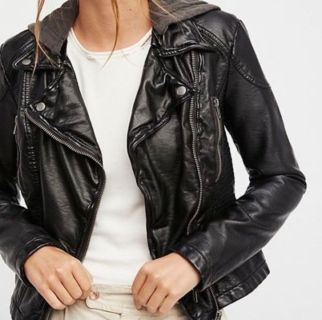 Free People Black Faux Vegan Leather Jacket Size 10 With Hoodie EUC.